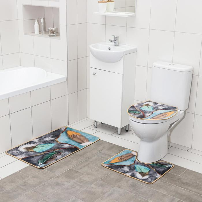 Набор ковриков для ванны и туалета Доляна «Пёрышки», 3 шт: 50×80, 50×40, 40×43 см