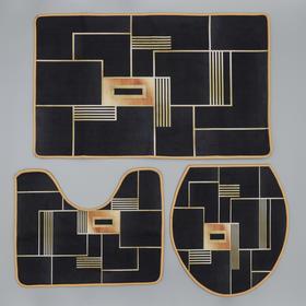 Набор ковриков для ванны и туалета Доляна «Геометрия», 3 шт: 50×80, 50×40, 40×43 см