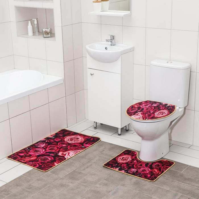 Набор ковриков для ванны и туалета Доляна «Розы», 3 шт: 50×80, 50×40, 40×43 см