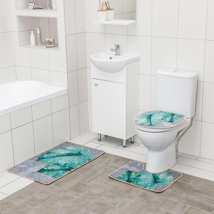 Набор ковриков для ванны и туалета Доляна «Тропический», 3 шт: 50×80, 50×40, 40×43 см
