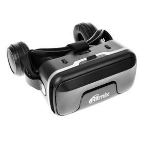 Очки виртуальной реальности Ritmix RVR-400, jack 3.5 мм, ширина смартфона до 80 мм, чёрные