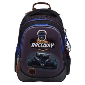 Рюкзак школьный эргоном.спинка Across CH220 39*29*17 мал Raceway, черн/сер/син ACR21-220-2