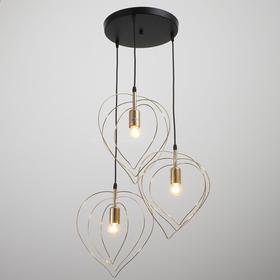 Подвесной светильник 85101/3 3х60Вт Е27 черный золотой 55х55х105см
