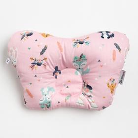 Подушка анатомическая Крошка Я «Лесные зверята», 26х22 см, 100% хлопок, сатин