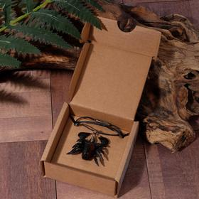 """Кулон из кожи """"Скорпион"""" средний, цвет черно-коричневый"""