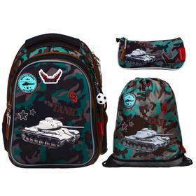 Рюкзак школьный эргоном.спинка Across CH410 39*29*17 мал наполн:мешок,пенал,брел, кор/зел