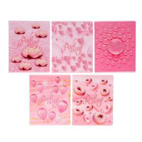 Тетрадь 48 листов Pink, обложка мелованный картон, матовая ламинация, выборочный УФ-лак, блёстки, блок офсет, МИКС