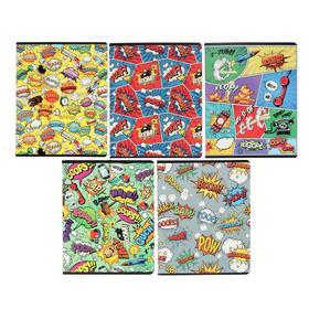 """Тетрадь 48 листов в клетку """"Комикс"""", обложка мелованный картон, выборочный УФ-лак, блок офсет, МИКС"""