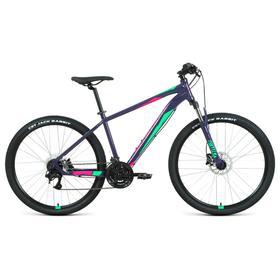 "Велосипед 27,5"" Forward Apache 3.2 disc, 2021, цвет фиолетовый/зеленый, размер 21"""