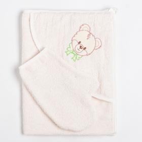 Набор для купания (уголок+рукавичка), молочный, 340гр/м, махра