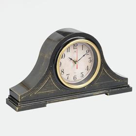 """Часы настольные """"Классика"""" 35х18 см, корпус черный с золотом, плавный ход"""