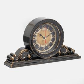 """Часы настольные """"Классика"""" 26х14 см, корпус черный с медью, плавный ход"""