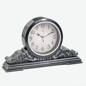 """Часы настольные """"Классика"""" 43х25 см, корпус черный с серебром, плавный ход"""