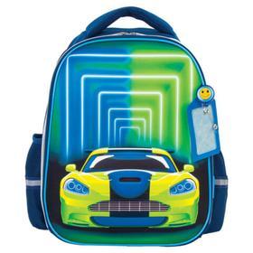 Рюкзак каркасный ЮНЛАНДИЯ LIGHT 38х29х16 мал 3D панель,  бейдж Neon car, син/желт/зел