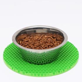 Коврик под миску, круглый, диаметр 24 см, зелёный