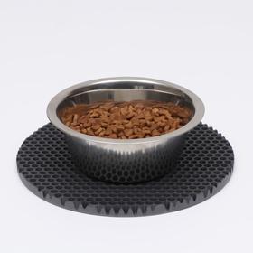 Коврик под миску, круглый, диаметр 24 см, серый