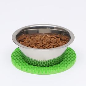 Коврик под миску, круглый, диаметр 18 см, зелёный