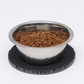 Коврик под миску, круглый, диаметр 18 см, серый
