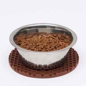 Коврик под миску, круглый, диаметр 18 см, коричневый