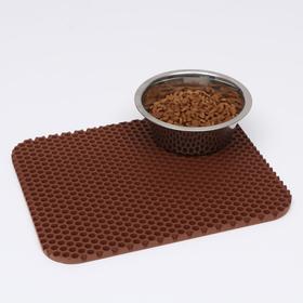 Коврик для животных универсальный, прямоугольный, 27 х 34 см, коричневый