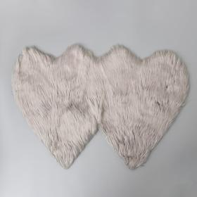 Коврик Доляна «Сердца», 60×90 см, цвет cерый