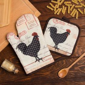 Кухонный набор Доляна «Петух», прихватка 17*17 см, рукавица 26*16 см,100% п/э