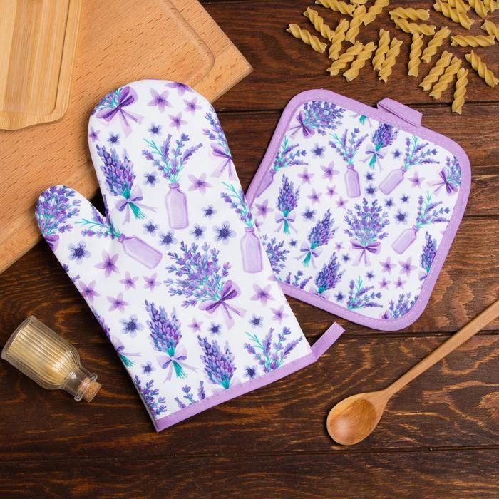 Кухонный набор Доляна «Романтика», прихватка 17*17 см, рукавица 26*16 см,100% п/э