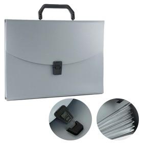 Папка-портфель А4, 13 отделений, 700 мкм, Calligrata, до 300 листов, серая