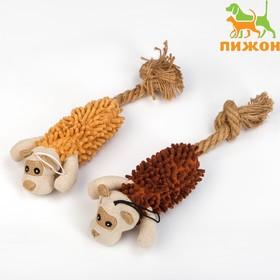 """Игрушка мягкая для собак """"Пёс"""" с пищалкой и канатом, 39 х 11 см, коричневая"""