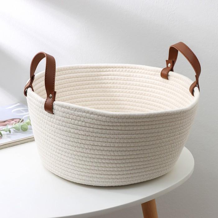 Корзина для хранения плетёная «Луиза», 36×36×16 см, цвет белый - фото 1638887