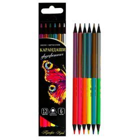 Карандаши двухцветные 6 штук-12 цветов «Профи-Арт», неон/металлик, трёхгранные