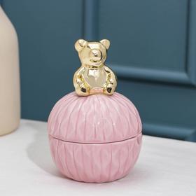 Банка для сыпучик продуктов Доляна «Золотой мишка», 8,2×11,5 см, цвет розовый