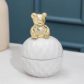 Банка для сыпучик продуктов Доляна «Золотой мишка», 8,2×11,5 см, цвет белый