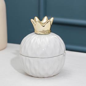 Банка для сыпучик продуктов Доляна «Золотая корона», 8,2×11 см, цвет белый