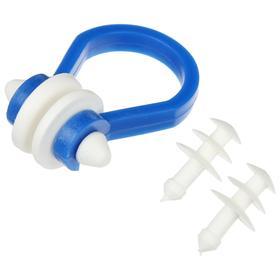 Набор для плавания Salvas, беруши + зажим для носа, цвет синий/белый
