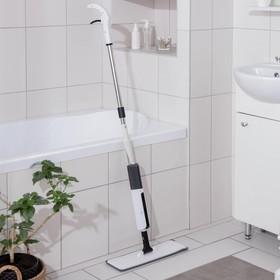 Швабра для мытья пола с распылителем и щёткой, стальной черенок 120 см, микрофибра 41×14 см, цвет белый