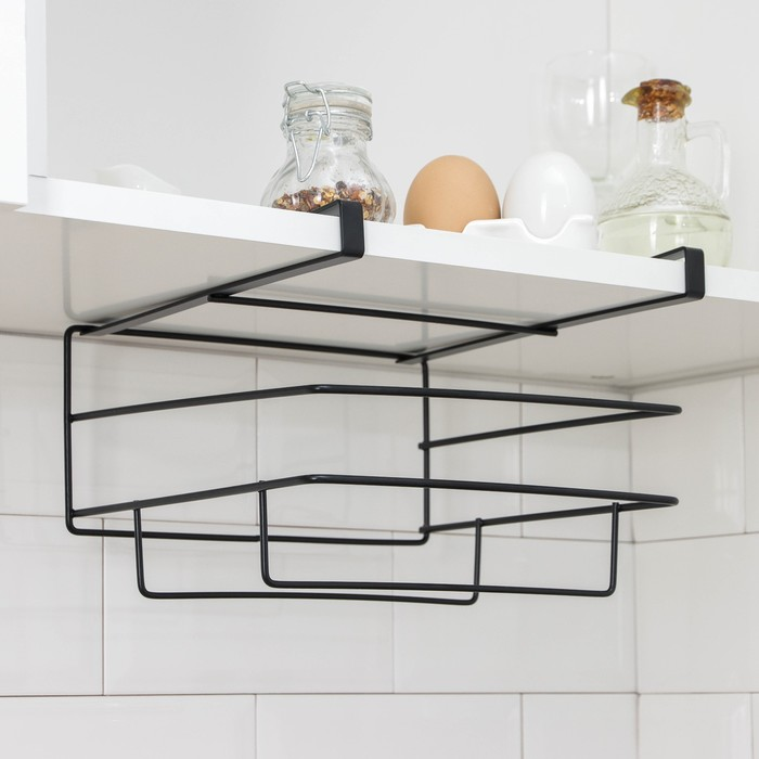 Держатель для кухонных принадлежностей подвесной Доляна, цвет чёрный
