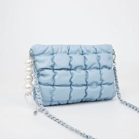 Клатч стёганый, отдел на молнии, длинный ремень, цвет голубой