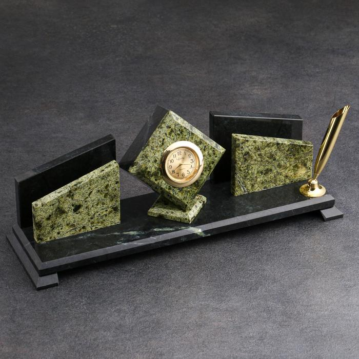 Набор письменный «Змеевик. Куб»: 2 визитницы, 2 подставки для ручек, часы