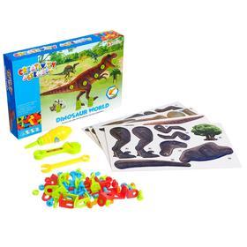 Конструктор винтовая мозаика «Мир динозавров», 4 карточки, 3 инструмента