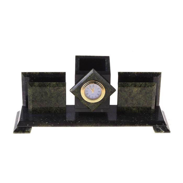Набор письменный «Змеевик»: часы, 2 визитницы, подставка для ручек