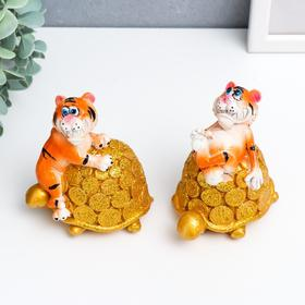 "Копилка полистоун ""Тигр на золотой черепахе с монетами"" МИКС 9х6х9 см"