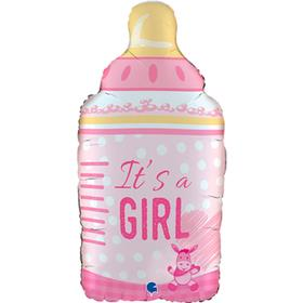 """Шар фольгированный 29"""" It's a girl «Бутылка розовая», фигура"""