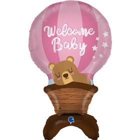 """Шар фольгированный 38"""" «Мишка на воздушном шаре», фигура для воздуха, цвет розовый"""