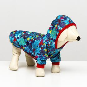 """Куртка плащевая """"Весна""""  для собак M (ДС 24-26, ОШ 28, ОГ 34-36 см), цветочек"""