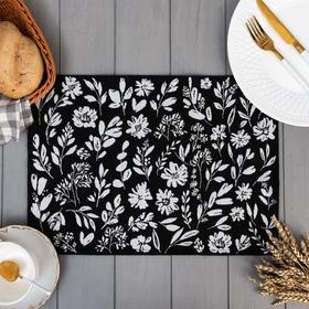 "Салфетка ""Этель"" Flowers black 30х45 см вид 1, 100% пэ, 370 г/м2"