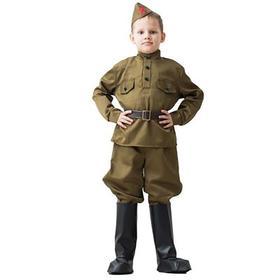 Костюм военного, гимнастерка, ремень, пилотка, галифе, сапоги  3-5 лет рост 104-116 см