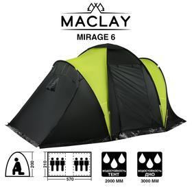 Палатка туристическая MIRAGE 6, размер 570 х 210 х 200 см, 6-местная, двухслойная