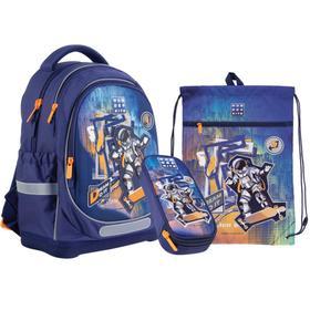Рюкзак школьный c эргономичной спинкой Kite 724, 36 х 27 х 16, с наполнением: мешок, пенал Space Skating, синий