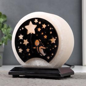 """Соляной светильник """"Космонавт и звезды"""" E14 15Вт диммер бел.соль 1,5-2 кг 13х8х15 см"""